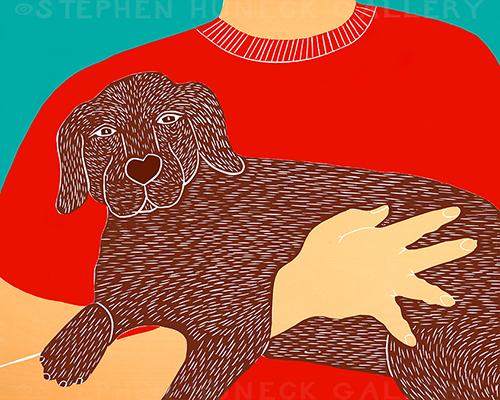 Dogs Can Heal a Broken Heart - Original Woodcut