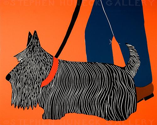 Dogs Can Heel-Scottie - Original Woodcut