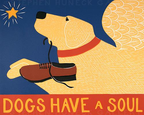 Dogs Have a Soul - Original Woodcut
