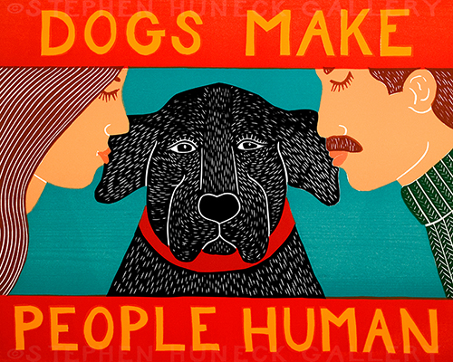 Dogs Make People Human - Original Woodcut