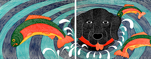 Fish Are Jumping - Diptych Woodcut