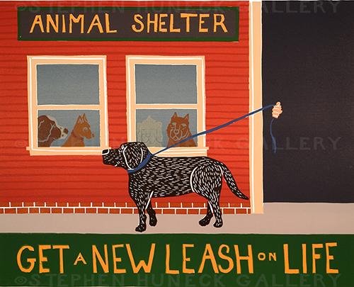Get a New Leash on Life - Original Woodcut