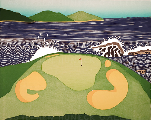 Golf Course Pebble Beach - Woodcut