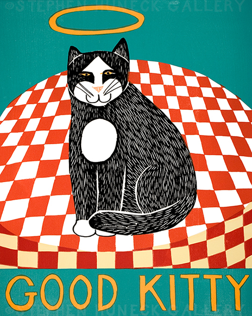 Good Kitty - Original Woodcut