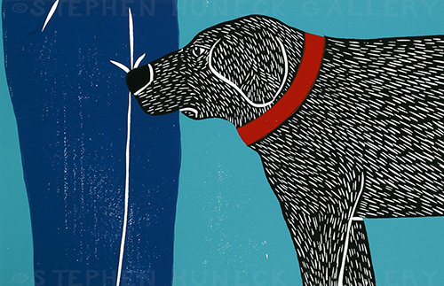 Greeting Visitors-Bad Dog - Medium Woodcut