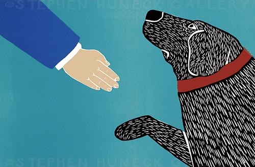 Greeting Visitors-Good Dog - Medium Woodcut