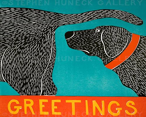Greetings - Original Woodcut