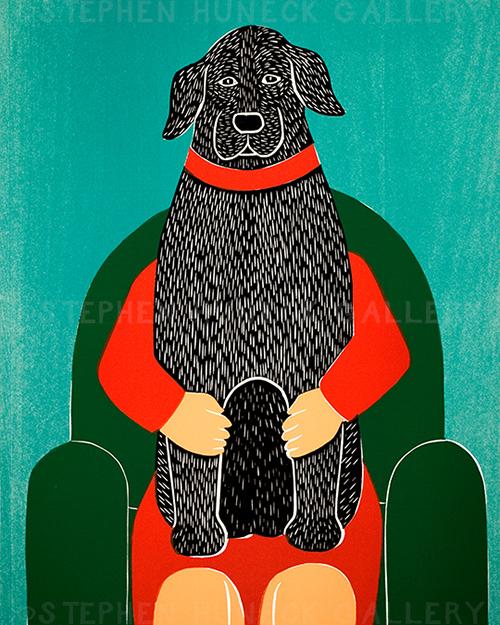 Lap Dog - Original Woodcut
