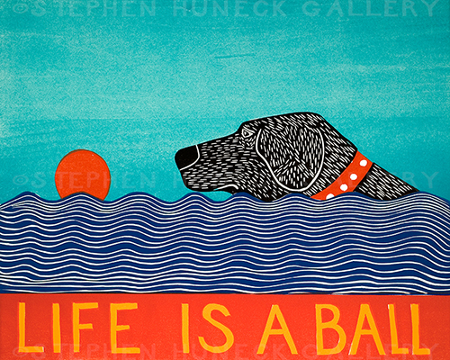 Life is a Ball - Original Woodcut