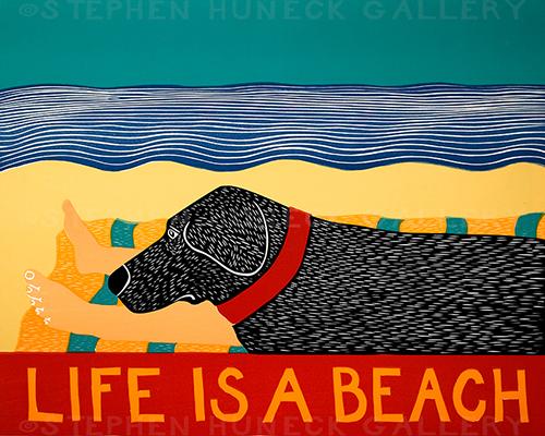Life is a Beach - Original Woodcut
