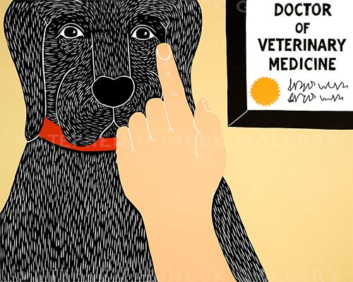 Listen to Your Vet - Original Woodcut