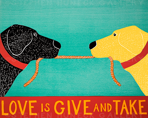 Love is Give and Take - Original Woodcut