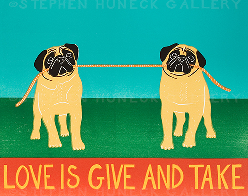Love is Give and Take-Pugs - Giclee Print