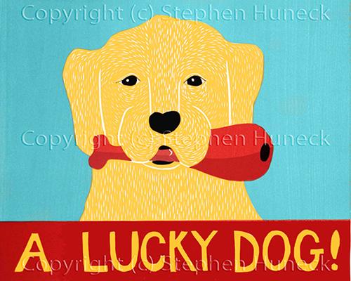 A Lucky Dog - Original Woodcut
