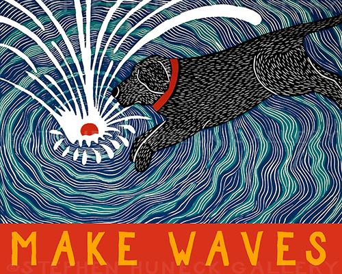 Make Waves - Original Woodcut
