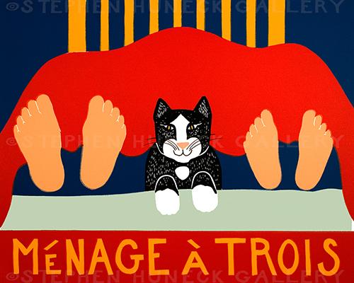 Menage a Trois-Cat - Original Woodcut