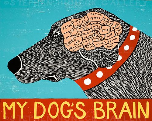 My Dog's Brain - Lithograph Print