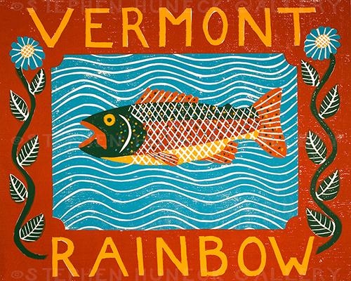 Vermont Rainbow Trout - Original Woodcut