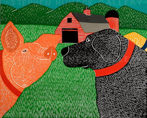 Sally Goes to the Farm - Original Woodcut