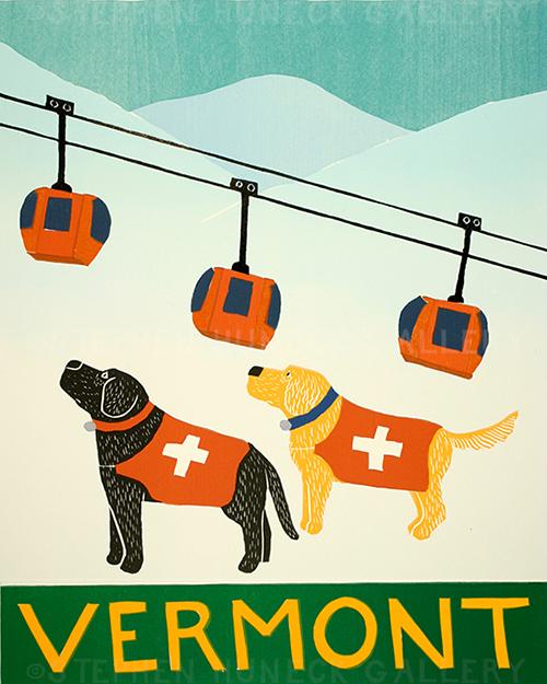 Ski Patrol-Vermont - Original Woodcut