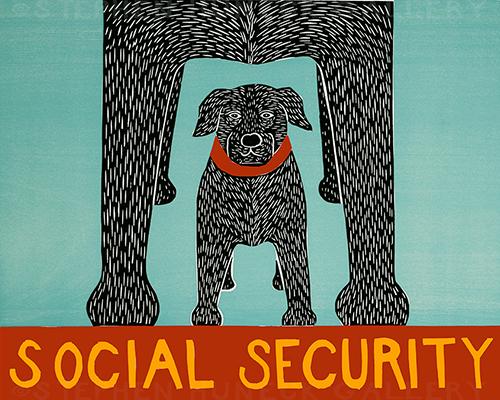 Social Security - Original Woodcut