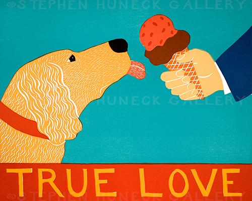 True Love-Golden Retriever - Original Woodcut