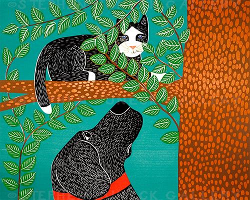 Up a Tree-Black Cat - Original Woodcut