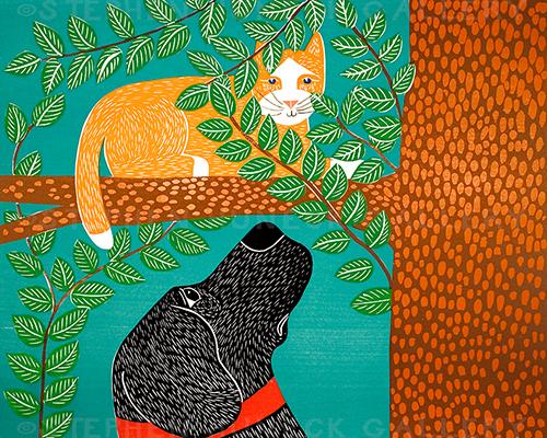 Up a Tree-Orange Cat - Original Woodcut