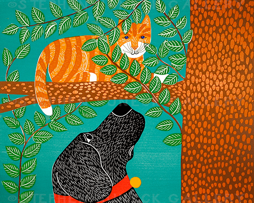 Up a Tree (Cat Color Choice) - Giclee Print