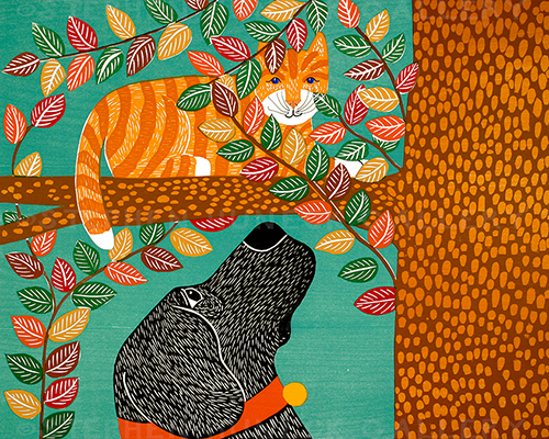 Up a Tree-Striped Cat - Woodcut