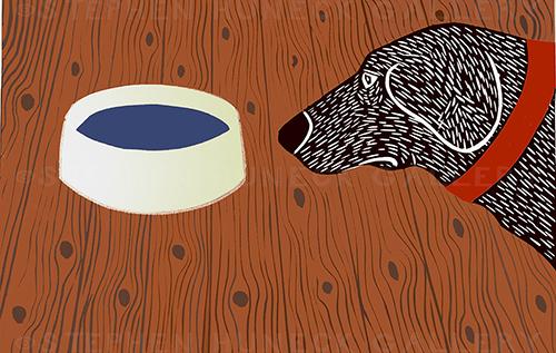 Water Bowl-Good Dog - Medium Woodcut