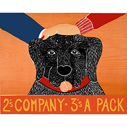 2's Company 3's a Pack - Original Woodcut