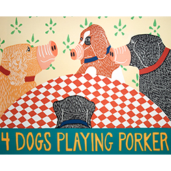 4 Dogs Playing Porker - Original Woodcut