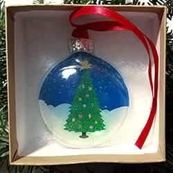 Angel Dog Tree - Glass Ornament