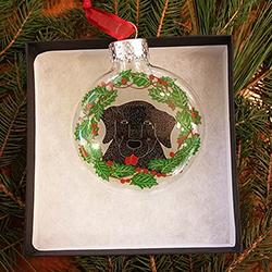 Black Lab - Glass Ornament