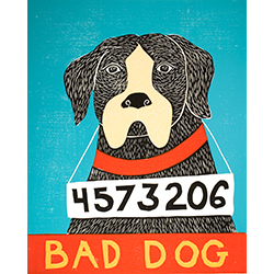 Bad Dog-Boxer - Original Woodcut
