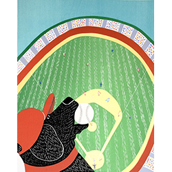 Ball Park - Original Woodcut