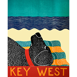 Beach Dog-Key West - Original Woodcut