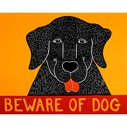 Beware of Dog - Original Woodcut