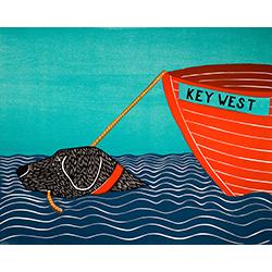 Boat-Key West - Original Woodcut
