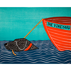 Boat-The Vineyard - Original Woodcut