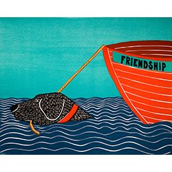Boat-Friendship - Original Woodcut