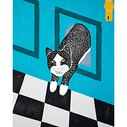 Cat Door - Original Woodcut