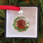 Chocolate Lab - Glass Ornament