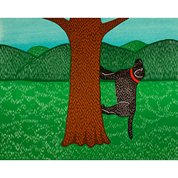 I Climb Up a Tree - Original Woodcut