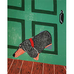 Dachshund Door - Original Woodcut