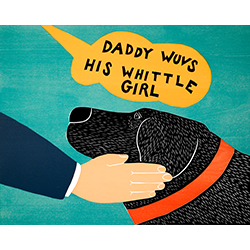 Daddy Wuvs His Whittle Girl - Original Woodcut
