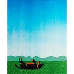 Day Dreaming-Shepherd - Original Woodcut