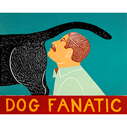 Dog Fanatic - Original Woodcut