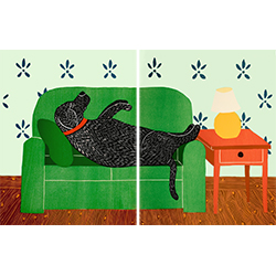 Dog Bed - Diptych Woodcut